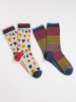 Painted Heart 2 Pack Socks