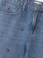 Fiesta Leaf Embroidered Boyfriend Jean