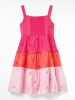 Colourblock Tiered Woven Dress