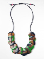 Layered Wood Disc Necklace