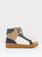 Leather and Suede High Top Trainer