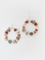 Mix Shell Bead Hoop Earrings