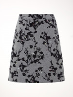 Epic A Line Flocked Wool Skirt