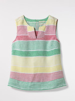 Lime Wood Stripe Linen Vest