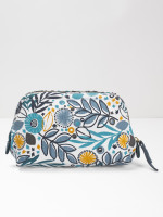Teal Leaf Canvas Make Up Bag