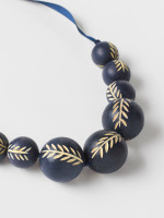 Carved Wood Bead Necklace