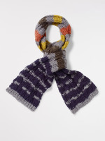 Kids Cable Knit Striped Scarf
