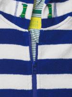 Stripe Towelling Zip Hoodie