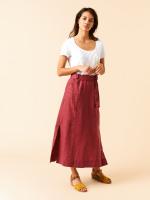 Ione Plain Linen Maxi Skirt