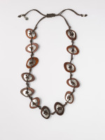 Wood & Cut Out Metal Necklace