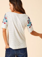 Floral Stripe Mixed Tee