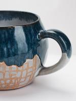 Blue CrissCross Terracotta Mug