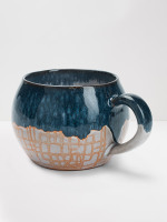 Blue CrissCross Terracotta Mug