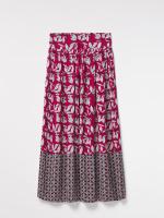 Leaf Print Crinkle Maxi Skirt