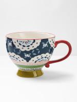 Teal Flourette Decorative Mug