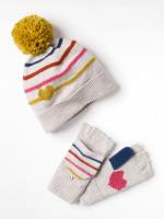 Kids Heart & Stripe Hat & Mitt Set