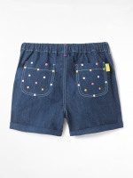 Embroidered Spot Denim Shorts