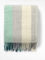 Minty Herringbone Stripe Throw