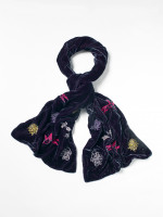 Embroidered Velvet Scarf