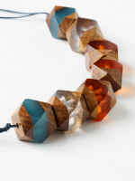 Faceted Wood Resin Necklace