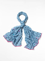 Denim Daisy Embroidered Print Scarf