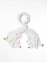 Daisy Embroided Linen Scarf