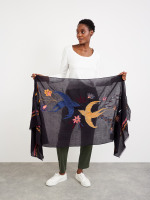 Embroided Floral Bird Scarf