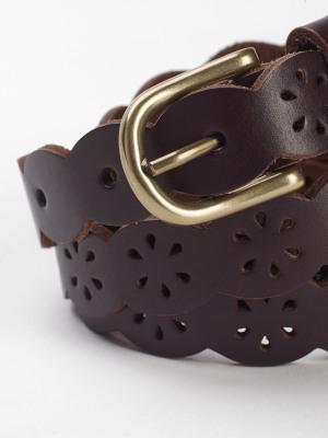 Leather Scallop Belt