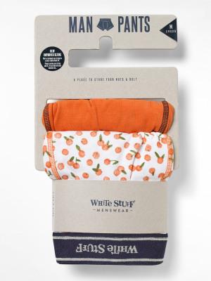 Orange Print Plain Double Pack