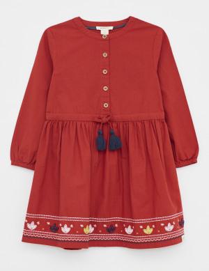 Floral Stitch Woven Dress