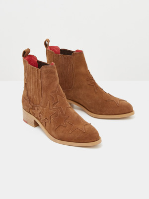 Shelly Star Suede Ankle Boots