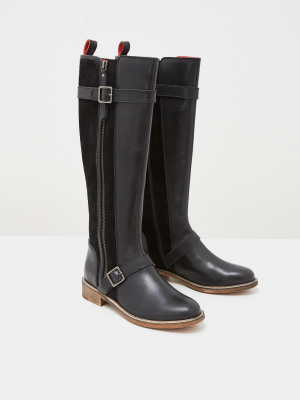 Brit Buckle Leather Long Boots