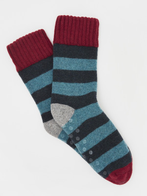 Non Slip Loop Back Stripe Sock