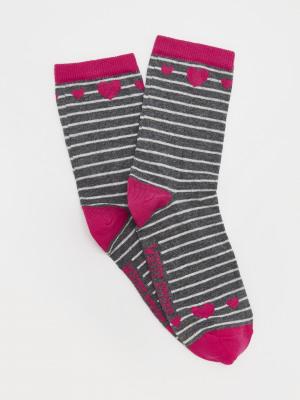 Stripe & Heart Sock in Bag