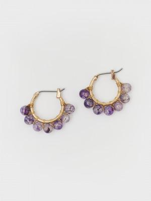Semi Precious Circle Earrings
