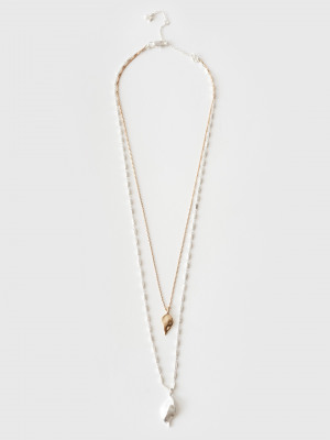 Double Leaf Multirow Necklace