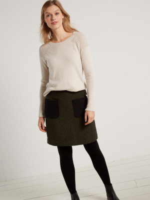 milly tweed patch pocket skirt forest green print