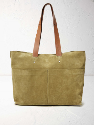 Madison Suede Tote Green