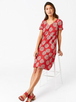 c17072c05e Selina Fairtrade Dress CORAL RED PRINT