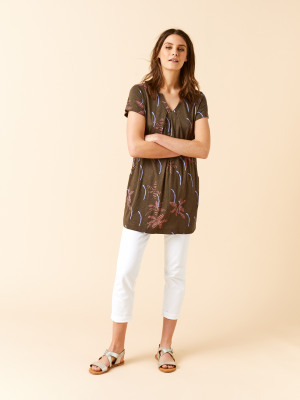 4d35d1c6d37f3d Rice Flower Print Jersey Tunic GROVE GREEN PRINT