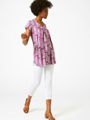24462e2bda2a88 Rice Flower Print Jersey Tunic PLUM PURPLE PRINT