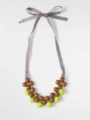 Wood & Wool Bead Necklace