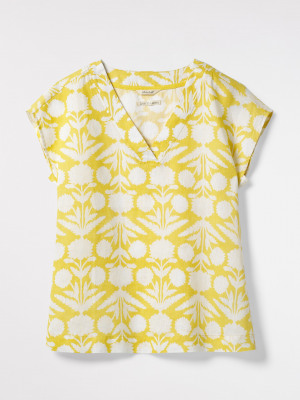 Rosewood Print Linen Top