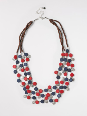 Metal & Bead Mono Necklace