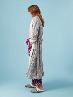 00141d8d4e5f Whimsical Long Fluffy Robe STONE GREY MARL PRINT