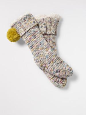 Kids Fleece Lined Pom Slipper Socks