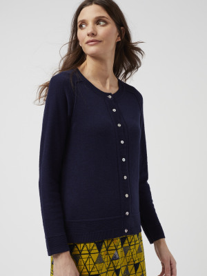 eb3e6fe00d46 Promenade Button Cardigan NAVY