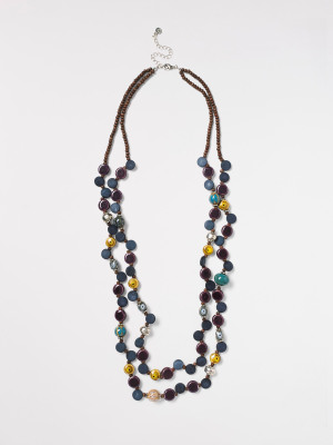 Wood & Ceramic Bead Necklace