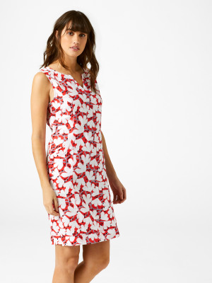 3f7f15aee11 Marina Linen Dress TOMATO RED PRINT