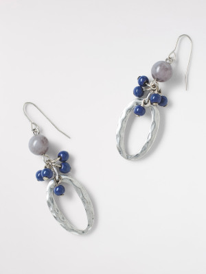Oval Drop Cluster Earring